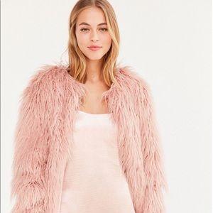 Shaggy Pink Faux Fur Coat